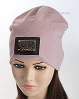 Удлиненная трикотажная шапка Verox пудра-1