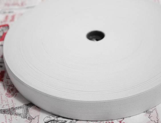 Резинка текстильная белая плотная 2см, 25м , фото 2