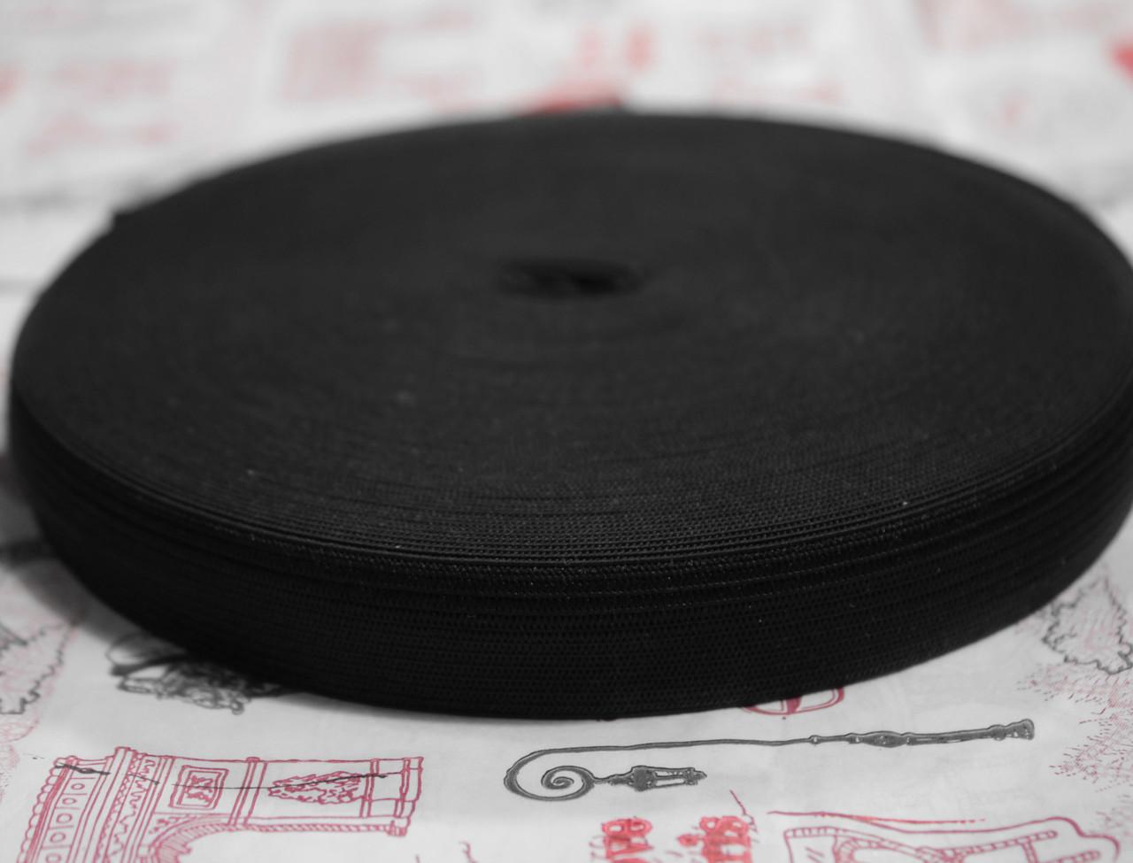 Резинка текстильная черная плотная 2,5см, 25м