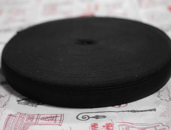 Резинка текстильная черная плотная 2,5см, 25м , фото 2