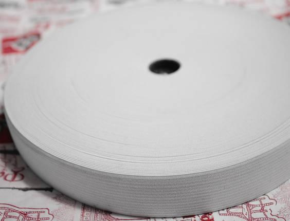 Резинка текстильная белая плотная 2,5см, 25м , фото 2