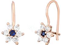Серебряные серьги с фианитом - цветок