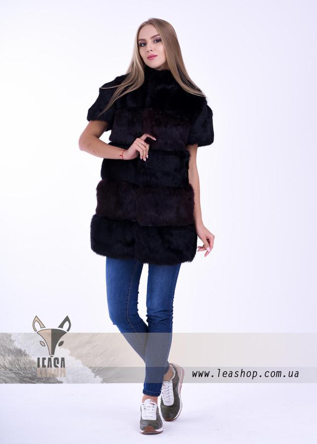 Жилетка из кролика темно бордового цвета ФОТО