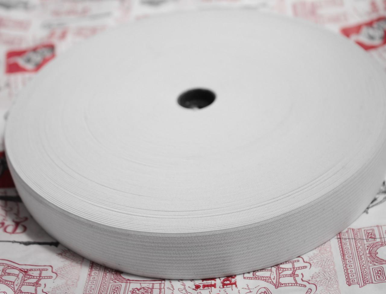 Резинка текстильная белая плотная 4см, 25м