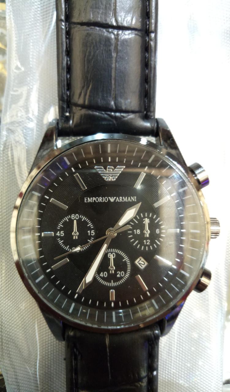 Мужские наручные часы ЕА (Emporio Armani) черные с чёрным циферблатом, Армани ( код: IBW030BB )