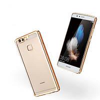 Прозрачный силиконовый чехол с глянцевым ободком для Huawei Ascend Mate 7 золотой