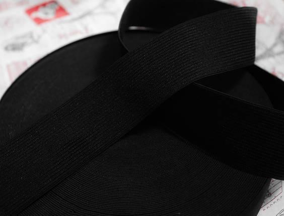 Резинка текстильная черная плотная 5см, 25м , фото 2