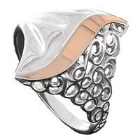 Серебряное кольцо с золотом Испанское кружево