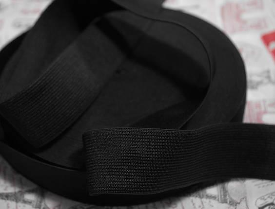 Резинка текстильная черная плотная 6см, 25м , фото 2