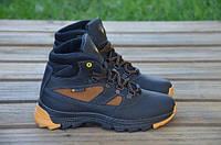 Зимние подростковые кожаные ботинки Walker черно-коричневые