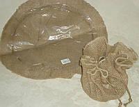 Кашпо-салфетка из мешковины коричн. 42 см, фото 1