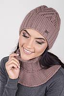 Вязаный женский комплект шапка и съемный воротник цвета сухая роза