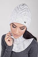 Вязаный женский комплект шапка и съемный воротник светло-серого цвета