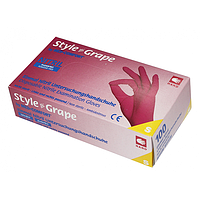 Перчатки бордовые нитриловые Style Grape неопудренные, XS, S, M, L (AMPri)