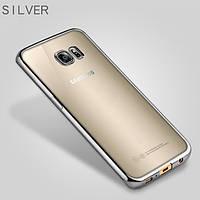 Прозрачный силиконовый чехол с глянцевым ободком для Samsung i9500 Galaxy S4 серебряный