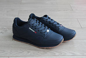 Мужские замшевые кроссовки Reebok Classic темно-синие (реплика)