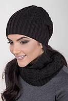 Вязаный женский комплект шапка и хомут черного цвета
