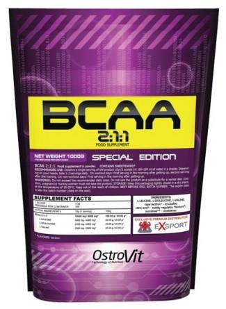 OstroVit BCAA 2-1-1 pure 1 kg, Островит БЦА 2-1-1 без вкуса 1 кг
