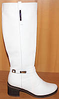 Белые сапоги женские зимние на каблуке, сапоги женские от производителя модель Л421