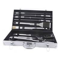 Набор инструментов из нержавеющей стали для барбекю 10 предметов в чемодане Fissman