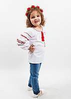 """Блузка, украинская вышиванка """"Торяндова доріжка"""" для девочки белая вышитая крестиком  размер 92, 98, 104, 110"""