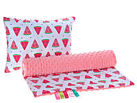 Комплект в детскую коляску BabySoon Арбузики одеяло 75 х 78 см подушка 30 х 40 см корал (286)