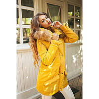Парка женская стильная с натуральным мехом 26 желтая