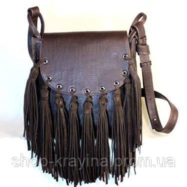 Кожаная сумка VS86 brown 27х24х7 см