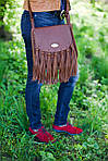 Кожаная сумка VS86 brown 27х24х7 см, фото 4
