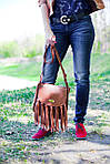 Кожаная сумка VS86 brown 27х24х7 см, фото 5