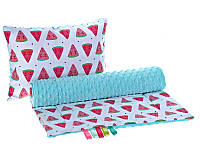 Комплект в детскую коляску BabySoon Арбузики одеяло 75 х 78 см подушка 30 х 40 см голубой (288)