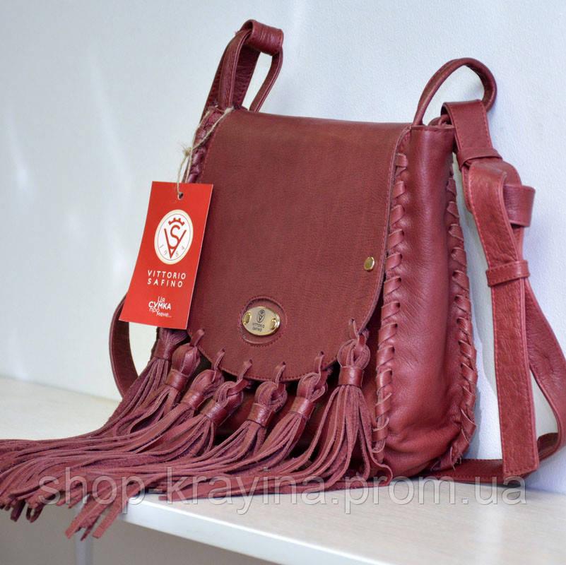 Кожаная сумка VS86 terracotta 27х24х7 см