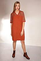 Платье с прозрачными вставками Lurex и камнями