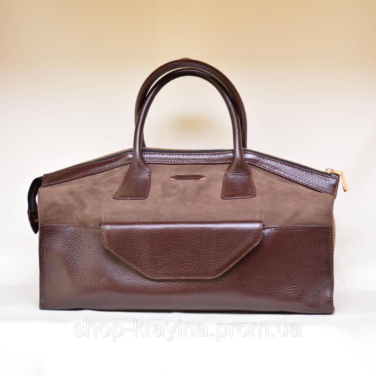 Кожаная сумка VS101 brown 38х20х18 см