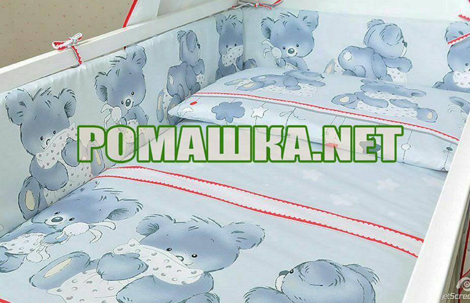 Защита (мягкие бортики, охранка, бампер) в детскую кроватку для новорожденного Подушки 3855 Унисекс, Серый