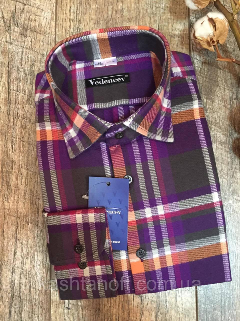 Фланелевая рубашка в фиолетово-серую клетку
