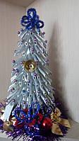 Новогодняя елочка из макарон - серебряная