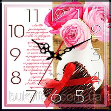 """Часы настенные квадратные """"Любовь долготерпит"""""""