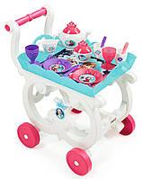 Сервировочный столик тележка на колесиках и посудка Frozen Smoby 310549