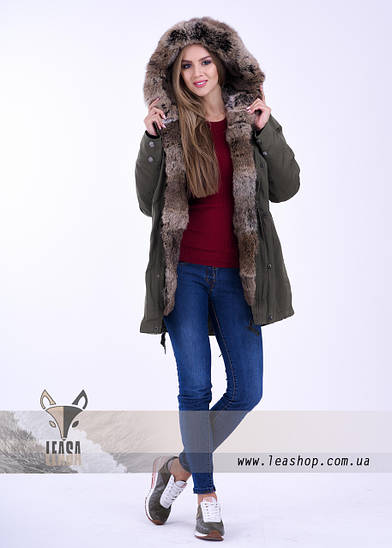 Парка хаки с натуральным мехом, распродажа, фото