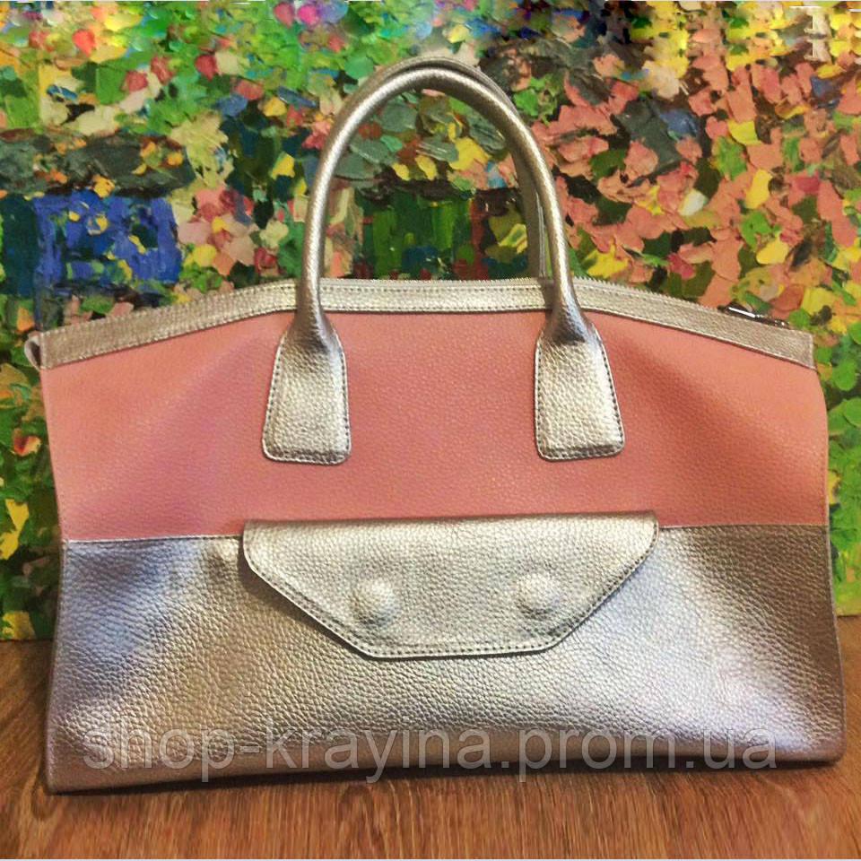 Кожаная сумка VS101 silver pink 38х20х18 см