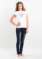 "Блузка, украинская вышиванка ""Посмішка троянди""(рожева  троянда) для девочки   размер 140, 146, 152, 158"