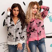 """Вязаная женская кофта-куртка на молнии """"Mickey Mouse"""" с капюшоном (2 цвета)"""