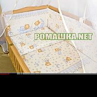 Набор в детскую кроватку из 6 предметов Пижама постель мягкие бортики большое одело 140х100 подушка 3152 Бежевый, Унисекс