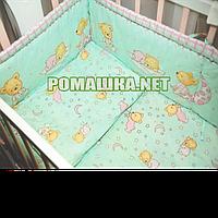 Набор в детскую кроватку из 6 предметов Пижама постель мягкие бортики большое одело 140х100 подушка 3152 Бирюзовый, Для девочек