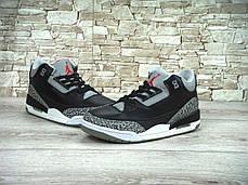 Кроссовки мужские баскетбольные Nike Air Jordan 3 Black Cement. ТОП Реплика ААА класса., фото 3