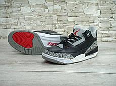 Кроссовки мужские баскетбольные Nike Air Jordan 3 Black Cement. ТОП Реплика ААА класса., фото 2