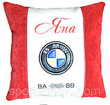 Автомобільна подушка кругла з логотипом bmv бмв 35см, фото 3