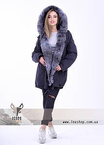 Меховая куртка парка для женщин, размер 50 - 52, XL