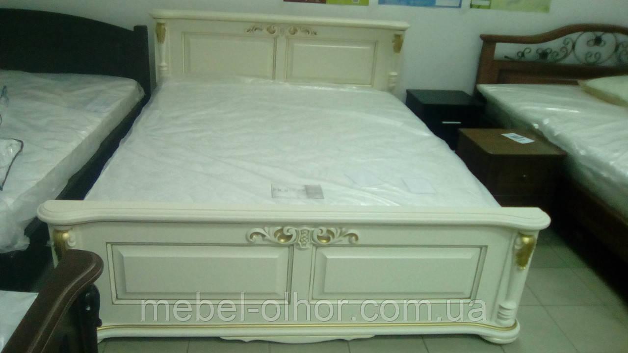 Кровать из  дерева Корадо (160*200) белая+ золото